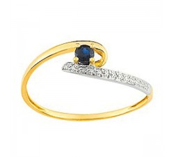 Bague or bicolore 750/1000 et saphir bleu by Stauffer (54)