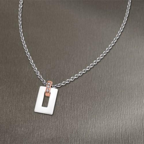 Collier acier et céramique blanche LOTUS STYLE LS1673-1/2