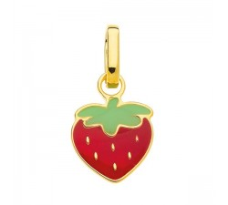Pendentif fraise, or 375/1000 et laque by Stauffer