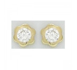 Boucles d'oreilles or jaune 375/1000, fleurs et oxydes de zirconium by Stauffer