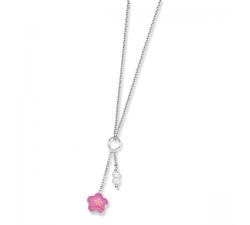 Collier argent et laque, perles et fleur PI004
