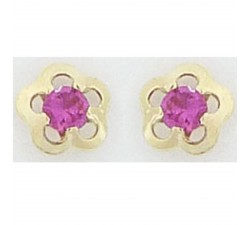 Boucles d'oreilles oxydes de zirconium rouge or jaune 375/1000 by Stauffer