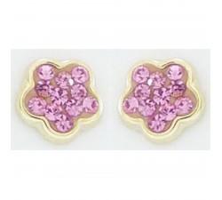 Boucles d'oreilles fleurs et cristaux roses or jaune 375/1000 by Stauffer