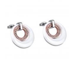 Boucles d'oreilles acier, céramique blanche LOTUS STYLE LS1704-1/2