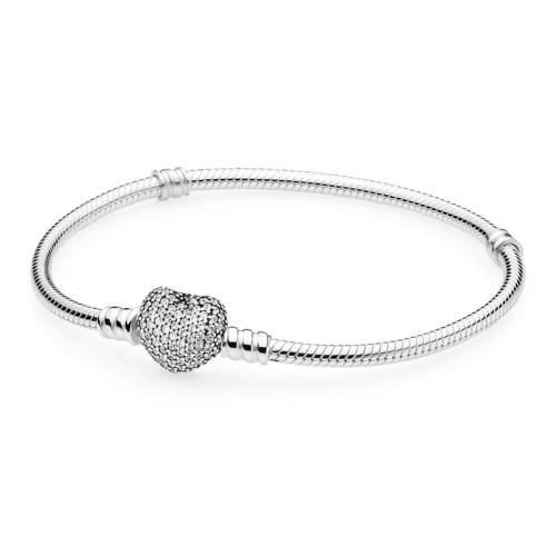 Bracelet Moments en Argent, Cœur Pavé PANDORA 590727CZ