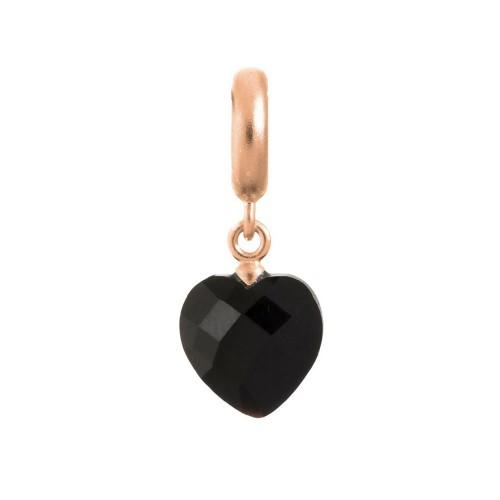 Endless Jewelry Black Heart Cut Drop Rosé d'or Charm 63351-2