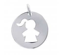 Pendentif argent 925/1000 fille by Stauffer