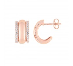 Boucles d'oreilles or rose 375/1000, oxydes de zirconium by Stauffer