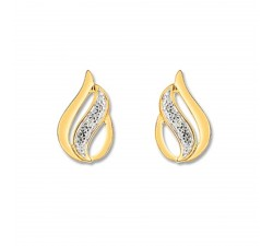Boucles d'oreilles or bicolore 375/1000, diamants by Stauffer
