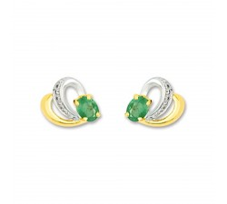 Boucles d'oreilles or bicolore 375/1000, émeraudes by Stauffer