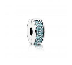 Clip Élégance Brillante Bleu turquoise Argent 925/1000 PANDORA 791817MCZ