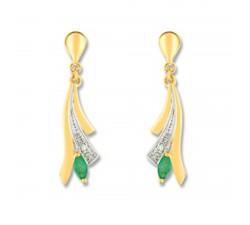 Boucles d'oreilles or jaune 375/1000, Emeraudes et diamants by Stauffer
