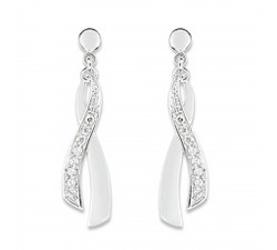 Boucles d'oreilles or gris 375/1000, oxydes de zirconium by Stauffer