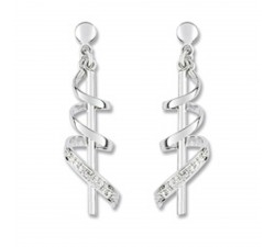 Boucles d'oreilles or gris 375/1000, diamants by Stauffer