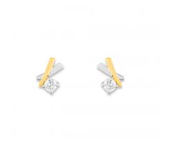 Boucles d'oreilles or bicolore 375/1000 et oxydes de zirconium by Stauffer
