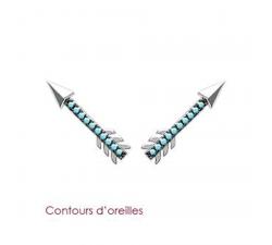 Boucles d'oreilles argent et pierres synthétiques bleues by Stauffer