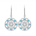 Boucles d'oreilles pendantes argent 925/1000 et pierres synthétiques bleues by Stauffer