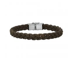 Bracelet acier et cordon tressé Marron Bang Bang BA8948U/PM-MS