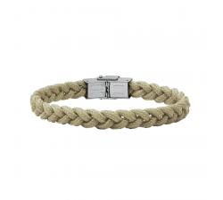 Bracelet acier et cordon tressé Taupe Bang Bang BA8948U/PM-TP