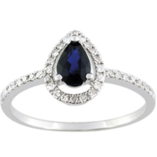 Bague or gris 750/1000, saphir bleu et diamants by Stauffer