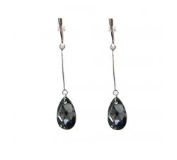 Boucles d'oreilles argent 925/1000 et Swarovski elements Indicolite BOPU-LARM-SINI