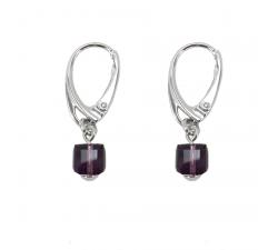 Boucles d'oreilles argent 925/1000 et Swarovski elements Indicolite DO-CARRE-204