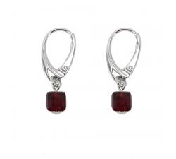 Boucles d'oreilles argent 925/1000 et Swarovski elements Indicolite DO-CARRE-208