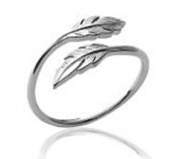 Bague argent 925/1000, plumes by Stauffer