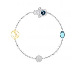 Hamsa Hand Symbol Swarovski Remix Collection, bleu, combinaison de métaux plaqués SWAROVSKI 5365759