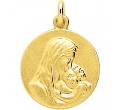 Médaille vierge et l'enfant plaqué or by Stauffer