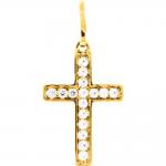 Pendentif croix et oxydes de zirconium plaqué or by Stauffer