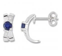 Boucles d'oreilles or gris 375/1000, saphirs bleus et oxydes de zirnconium by Stauffer