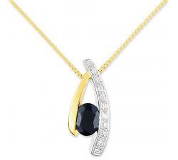 Collier or bicolore 375/1000, saphir bleu et oxydes de zirconium by Stauffer