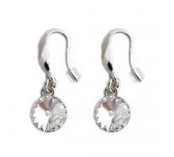 Boucles d'oreilles argent 925/1000 et Swarovski elements Indicolite BOCR-EMI-001