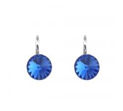 Boucles d'oreilles argent 925/1000 et Swarovski elements Indicolite DO-EMI-206