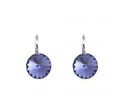 Boucles d'oreilles argent 925/1000 et Swarovski elements Indicolite DO-EMI-539