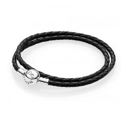 Double Bracelet Tressé en Cuir - Noir, fermoir rond argent 925/1000 PANDORA 590745CBK-D