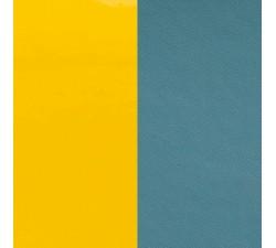 Cuir pour pendentif rond collier Les Georgettes - Jaune vernis / Bleu basalte 45 mm 703109999C3000