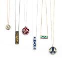 Cuir pour pendentif rectangulaire collier Les Georgettes - Orange vernis / Bleuet 40 mm 703110299C2000