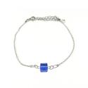 Bracelet argent 925/1000 et Swarovski elements Indicolite BR-CARRE-206