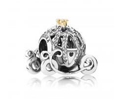 Charm Disney, Carrosse Citrouille de Cendrillon Argent 925/1000 et Or 585/1000 Pandora 791573CZ