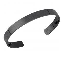 Bracelet Plaqué argent ruthénié satiné 14 mm Les Georgettes FOR MEN - Bandeau 703179935F2000