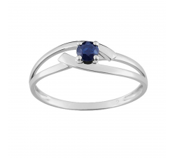 Bague or gris 375/1000, saphir bleu by Stauffer