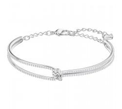 Bracelet-jonc Lifelong, blanc, métal rhodié SWAROVSKI 5368552