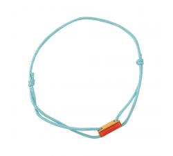 Bracelet cordon turquoise laque rouge en finition or LES CUMULABLES 70312081901000