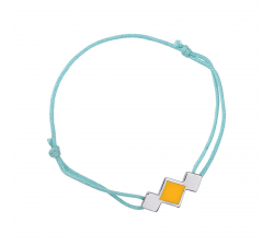 Bracelet cordon turquoise laque jaune en finition argenté LES CUMULABLES 70312091604000