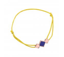 Bracelet cordon jaune laque bleue en finition or rose LES CUMULABLES 70312094102000