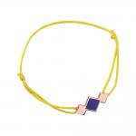 Bracelet cordon jaune laque bleue en finition or rose LES CUMULABLES 70312094102000