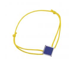 Bracelet cordon jaune laque bleue en finition argenté LES CUMULABLES 70312101602000