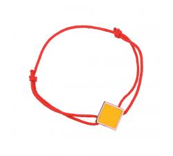 Bracelet cordon rouge laque jaune en finition or rose LES CUMULABLES 70312104104000